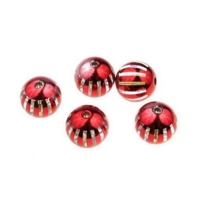 Мънисто металик райе топче 14 мм дупка 2.5 мм. червено - 8 броя
