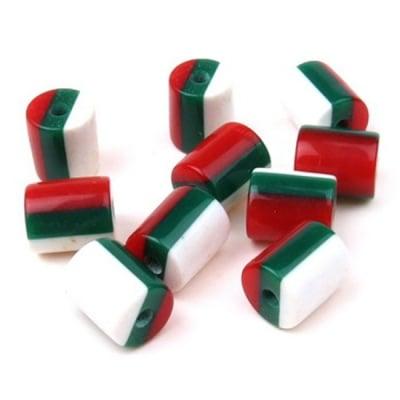 Цилиндър резин 9х8 мм райе бяло зелено червено -20 броя