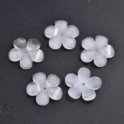 Мънисто резин тип кабошон цвете 19x19.5x13 мм брокат бяло дупка 0.5~1- 10 броя