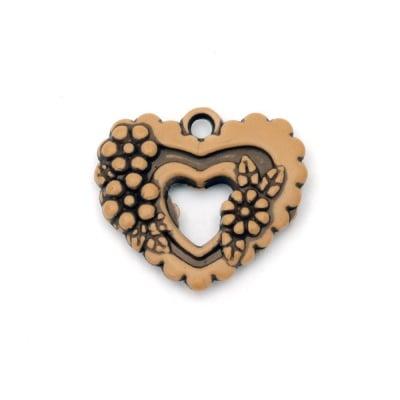 Висулка Антик сърце 31x28x5 мм дупка 3 мм кафяво -50 грама ~22 броя