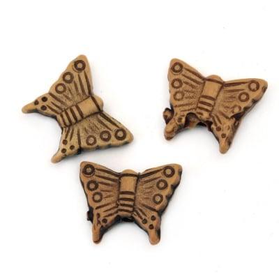 Мънисто Антик пеперуда 13x11x4 мм дупка 1 мм кафяво -50 грама ~ 171 броя