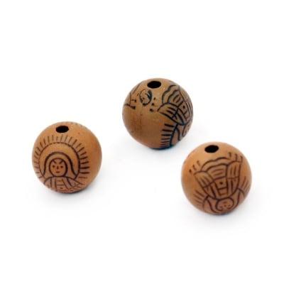 Мънисто Антик топче 10 мм дупка 1.5 мм кафяво -50 грама ~ 85 броя