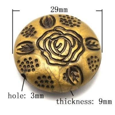 Мънисто Антик 29х9 мм дупка 3 мм античен бронз -53 грама ~12 броя