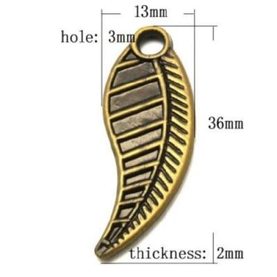 Мънисто Антик 36х13х2 мм дупка 3 мм античен бронз -50 грама ~90 броя