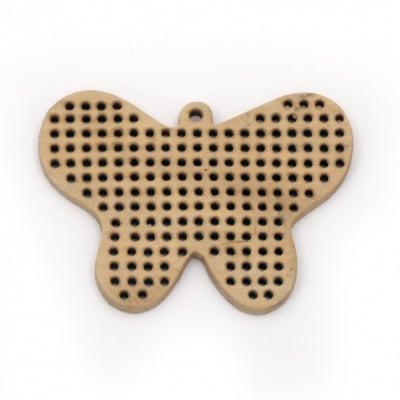 Висулка дърво пеперуда основа за бродирано бижу 42x60x4 мм дупка 2 мм -2 броя