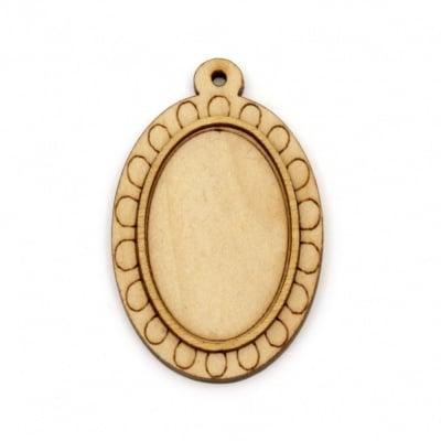 Дървена основа за медальон 46x30x5 мм плочка 31x20 мм дупка 1.5 мм цвят дърво -4 броя
