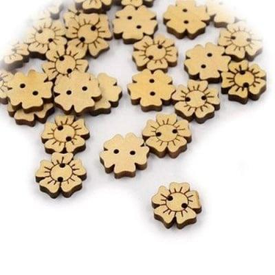 Копче дърво цвете 15x3.5 мм дупка 1 мм -10 броя