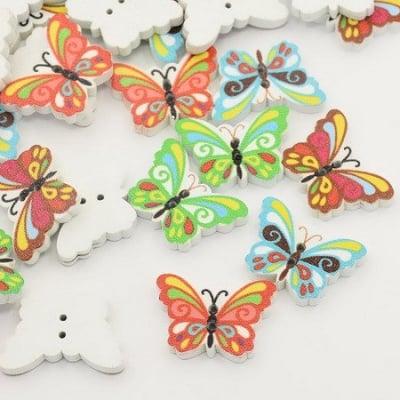 Копче дърво пеперуда 17x24x4 мм дупка 1 мм МИКС -10 броя