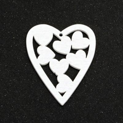 Висулка дърво сърце 48x40x2 мм дупка 1.5 мм цвят бял -5 броя