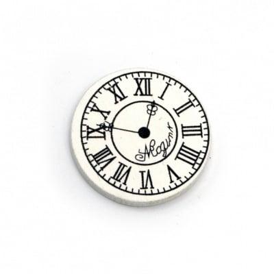 Фигурка дърво часовник 30x3 мм тип кабошон бяла -10 броя