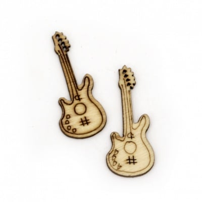 Фигурка дърво китара 36x15x1.5 мм цвят дърво -10 броя