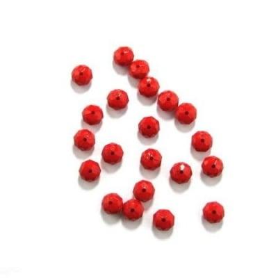 Мънисто плътно абакус 10х7 мм дупка 1 мм червено - 50 грама ~ 120 броя