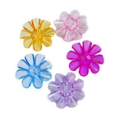 Копче цвете 33х33х11 мм отвор 3 мм прозрачно цветно -50 грама ~28 броя