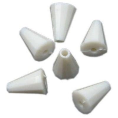 Конус плътен 14х9х3 мм дупка 2 мм бял -50 грама