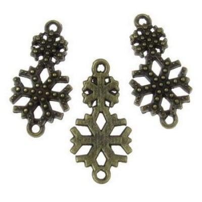 Свързващ елемент метал снежинки 25x13х2 мм дупка 1 мм цвят антик бронз - 6 броя -8.86 грама