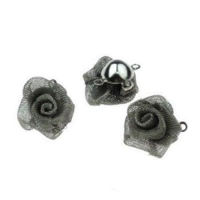 Свързващ елемент метал роза титаниум 13x9 мм цвят сребро