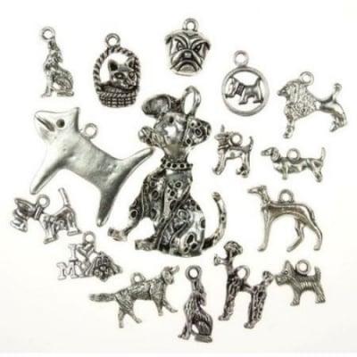 Висулка метална куче АСОРТЕ 15~47x8~34x1~13 мм дупка 1~2 мм цвят старо сребро -20 грама