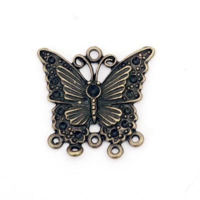 Свързващ елемент метал пеперуда 28.9x30x2.2 мм отвор 2 мм цвят антик бронз -2 броя