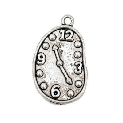 Висулка метална часовник 28x17x2 мм отвор 2 мм цвят старо сребро -5 броя