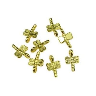 Висулка метална морско конче 17х18х2 мм дупка цвят злато -10 грама