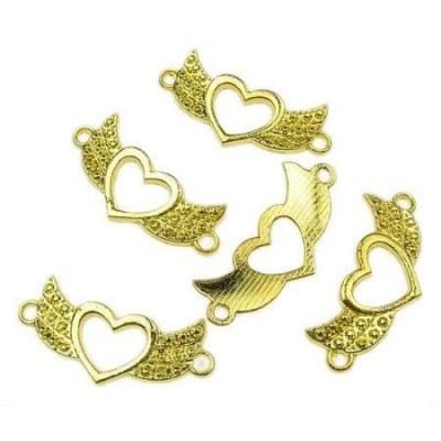 Свързващ елемент сърце крила 31x14х2 мм цвят злато -10.45 грама 5 броя
