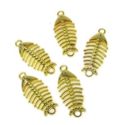 Свързващ елемент риба скелет 26x12х2 мм цвят злато -10 грама -7 броя