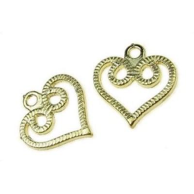 Висулка метална сърце 24х26 мм покритие цвят злато -23 грама -4 броя