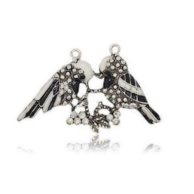 Висулка метална с кристали и боя птици 41x67x5 мм дупка 2.5 мм цвят старо сребро