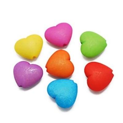 Сърце плътно матирано 19х22х9 мм отвор 1.5 мм цветно -50 грама ~26 броя