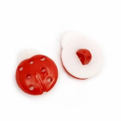 Копче пластмаса калинка 15x13x4 мм дупка 4 мм червено и бяло -20 броя