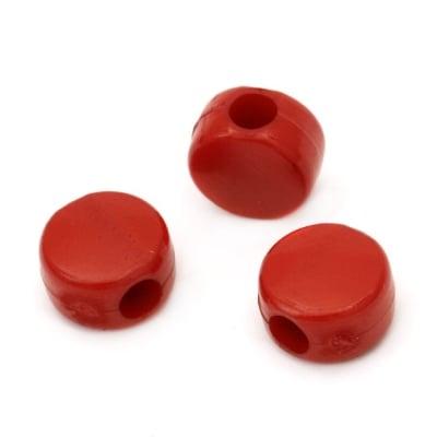 Шайба плътна 10x11x7 мм дупка 3.5 мм червена -50 грама