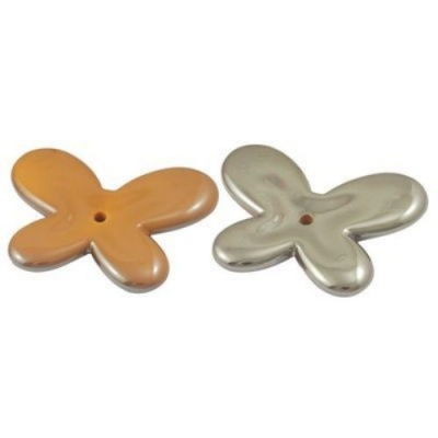 Мъниста плътна с черно UV покритие 33x44x5 мм дупка 2.5 мм пеперуда оранжева -20 грама