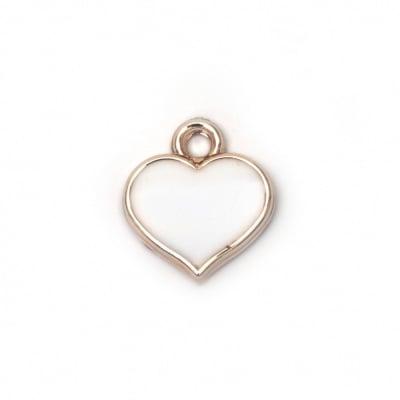 Висулка ССВ сърце 17x15x3.5 мм дупка 2 мм бяла цвят злато -10 броя