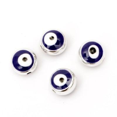 Мънисто ССВ кръг 10x7 мм отвор 1 мм синьо око - 10 броя