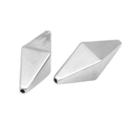 Мънисто CCB октаедър 29x10x10 мм дупка 2 мм цвят сребро -20 грама ~13 броя