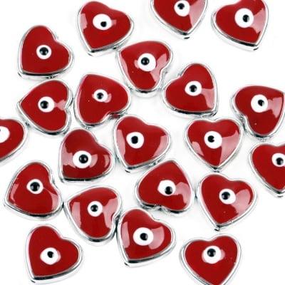 Сърце CCB 17x16x6 мм дупка 1 мм червено -5 броя