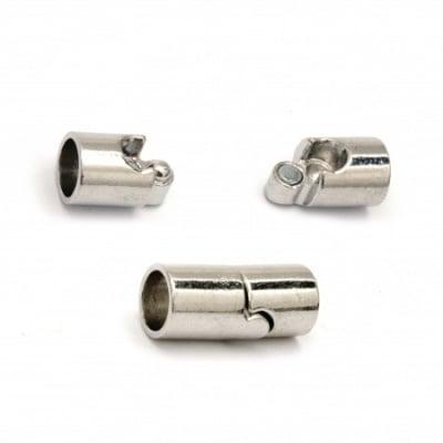 Закопчалка магнитна 20x9 мм дупка 7 мм цвят сребро