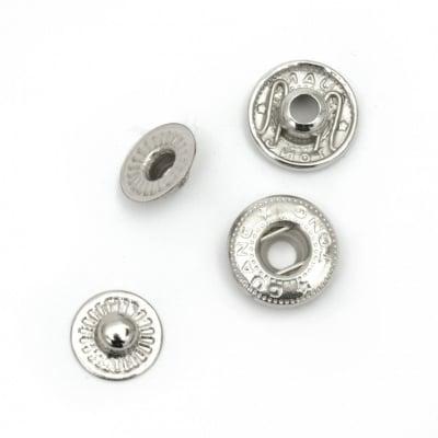 Копче мeтал тик-так кръг 12x4~6 мм дупка 4.5 мм цвят черен и сребро 4 части -5 комплекта