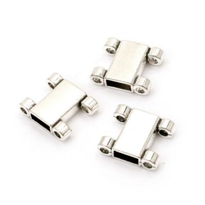 Разделител метал 14x16.5x5 мм дупка 2 мм и 3x7 мм цвят старо сребро -5 броя