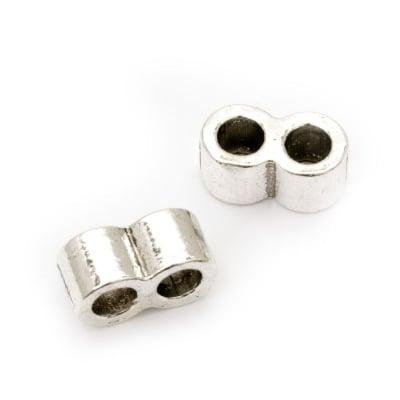 Разделител метал 16x8x9 мм дупка 5 мм цвят сребро -5 броя