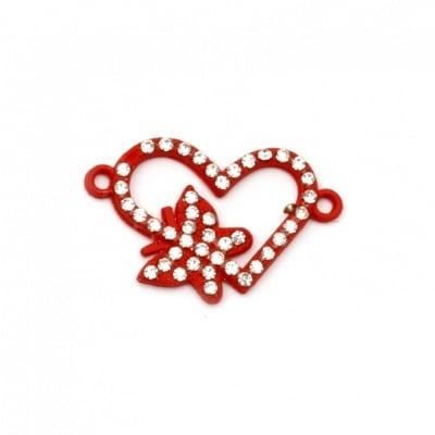Свързващ елемент метал с кристали сърце с пеперуда 24x15x2 мм дупка 1.5 мм червен-2 броя