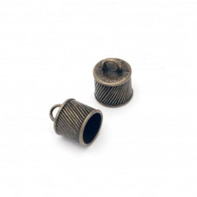 Мънисто метал шапка 15.5x12 мм дупка 3.5 мм цвят старо сребро -4 броя