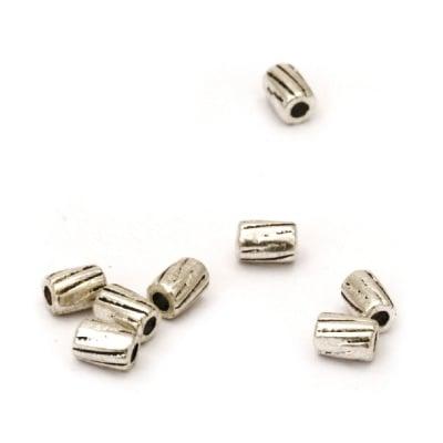 Мънисто метал цилиндър 3x4 мм дупка 1 мм цвят старо сребро -50 броя