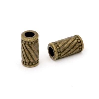 Мънисто метал цилиндър 6x11 мм дупка 3 мм цвят антик бронз -10 броя