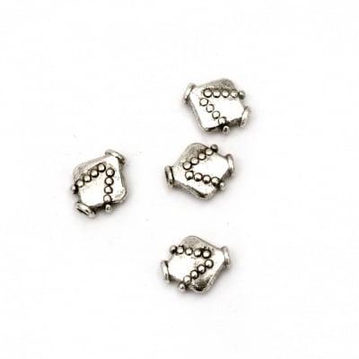 Мънисто метал ромб 10.5x9x6.5 мм дупка 2 мм цвят старо сребро -10 броя