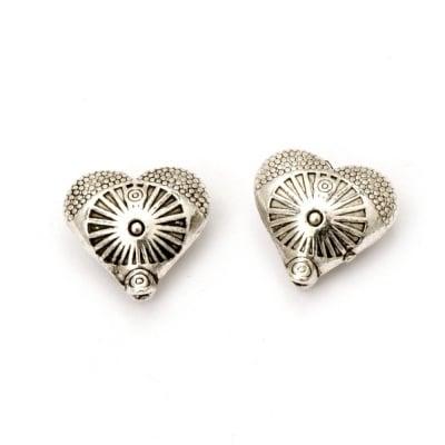 Мънисто метал сърце 12x13x6 мм дупка 1 мм цвят старо сребро -5 броя