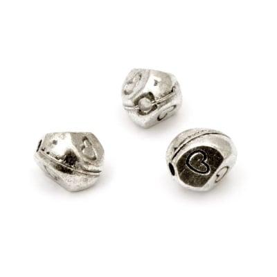 Мънисто метал 7x6.5 мм дупка 1.5 мм цвят старо сребро -10 броя