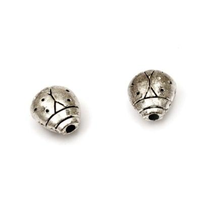 Мънисто метал калинка 11x10x6 мм дупка 1.5 мм цвят сребро - 5 броя