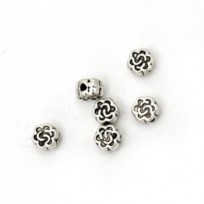 Мънисто метал цвете 5x3 мм дупка 1 мм цвят старо сребро -50 броя