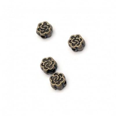 Мънисто метал цвете 5x3 мм дупка 1 мм цвят антик бронз -50 броя